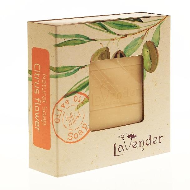סבון מוצק טבעי פרחי הדר משמן זית - לבנדר קוסמטיקה טבעית ורוקחות טבעית