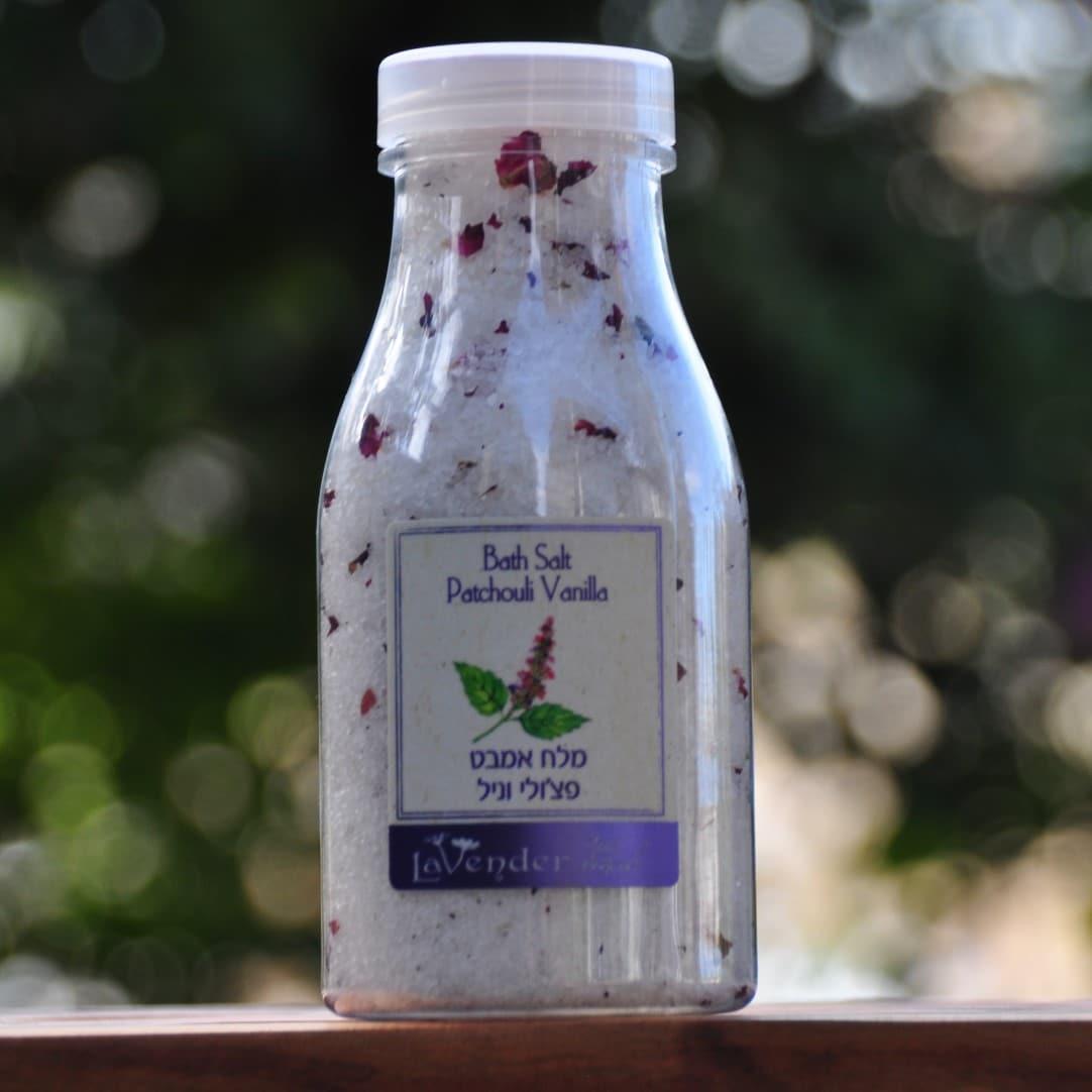 מלח ים המלח, מלח אמבט חושני, מלח לאמבט זוגי, מלח עם פרחי ורדים, מלח אמבט פטשולי וניל