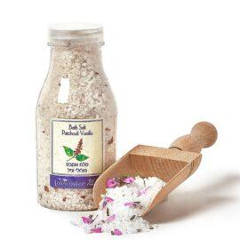 מלח אמבט חושני פטשולי וניל - לבנדר קוסמטיקה טבעית ורוקחות טבעית