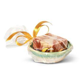 מתנה קטנה סבון טבעי וסבוניה מקרמיקה - לבנדר קוסמטיקה טבעית
